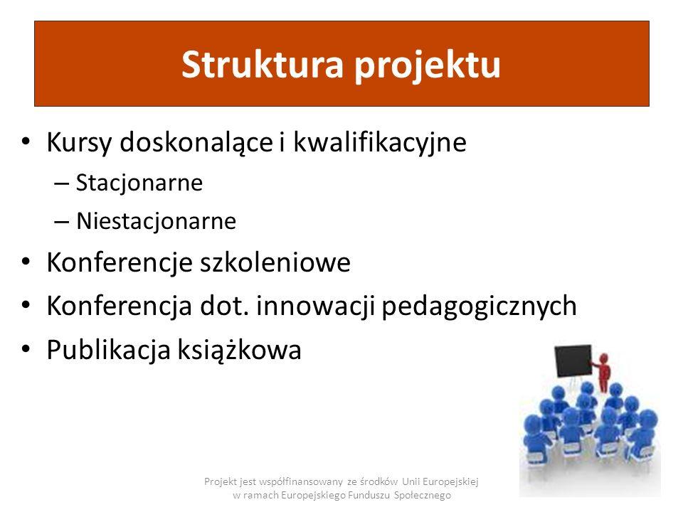 Struktura projektu Projekt jest współfinansowany ze środków Unii Europejskiej w ramach Europejskiego Funduszu Społecznego Kursy doskonalące i kwalifik