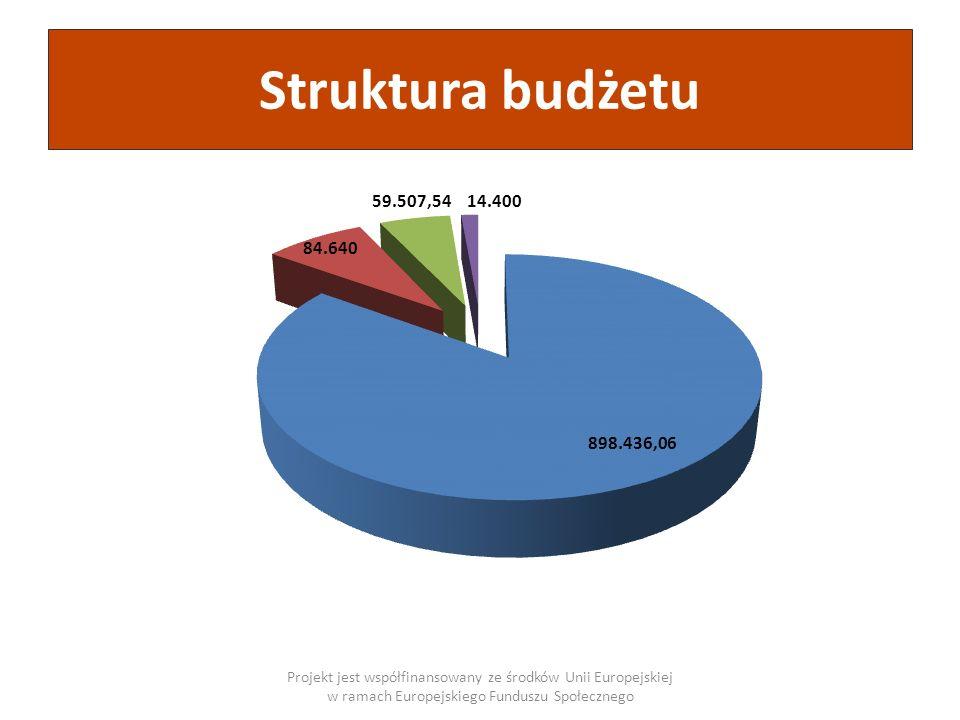 Struktura budżetu Źródło finansowaniaKwota Dofinansowanie z Europejskiego Funduszu Społecznego 898.436,06 Wkład własny niefinansowy 84.640,00 Wkład własny finansowy – środki finansowe szkół i placówek 59.507,54 Wkład własny finansowy – środki finansowe Wydziału Oświaty UM 14.400,00 Wartość projektu ogółem:1.056.983,60 Projekt jest współfinansowany ze środków Unii Europejskiej w ramach Europejskiego Funduszu Społecznego Zakupy sprzętu91.900,00 Tablice interaktywne, zestawy multimedialne