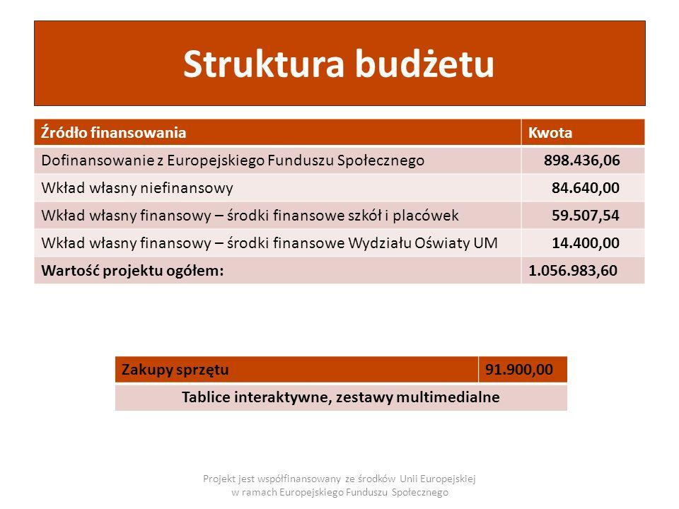 Struktura budżetu Źródło finansowaniaKwota Dofinansowanie z Europejskiego Funduszu Społecznego 898.436,06 Wkład własny niefinansowy 84.640,00 Wkład wł