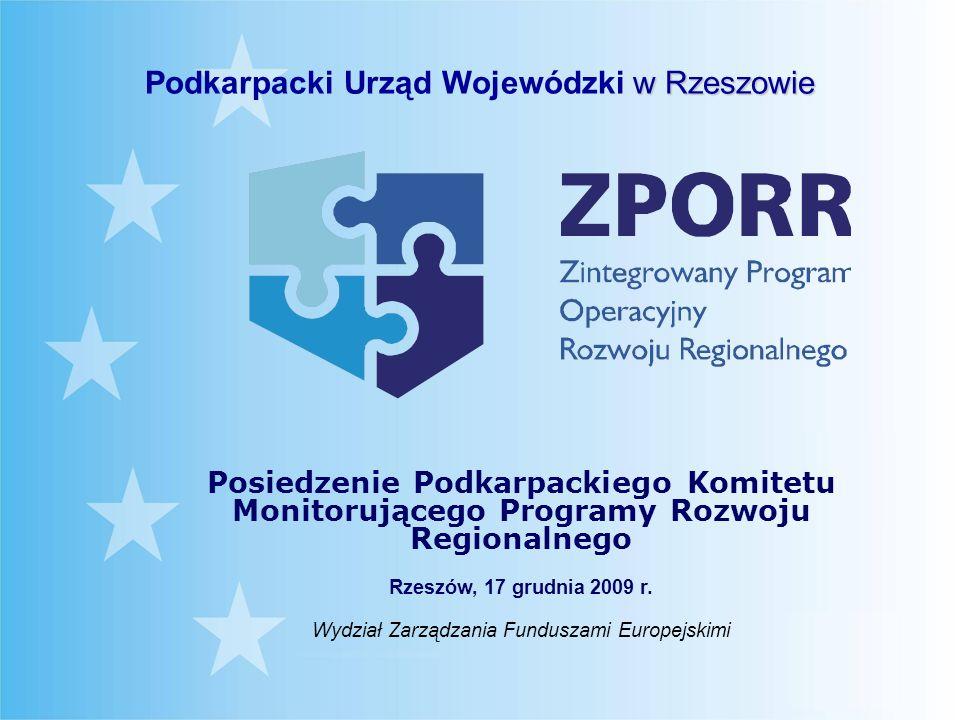 Limit środków unijnych dla województwa podkarpackiego w ramach Zintegrowanego Programu Operacyjnego Rozwoju Regionalnego (bez Pomocy Technicznej)* Priorytet I Rozbudowa i modernizacja infrastruktury służącej wzmacnianiu konkurencyjności regionów Priorytet II Wzmocnienie rozwoju zasobów ludzkich w regionach Priorytet III Rozwój lokalny Łącznie: – 110,6 mln euro (426,3 mln zł) – 30,0 mln euro (113,5 mln zł) – 51,5 mln euro (196,7 mln zł) 192,2 mln euro (736,5mln zł) * Po uwzględnieniu kwot wydatkowanych oraz kwot pozostałych do wydatkowania przeliczonych wg kursu EBC z dn.
