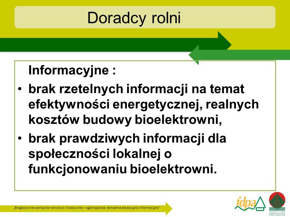 Biogazownie szansą dla rolnictwa i środowiska – ogólnopolska kampania edukacyjno-informacyjna Doradcy rolni Informacyjne : brak rzetelnych informacji