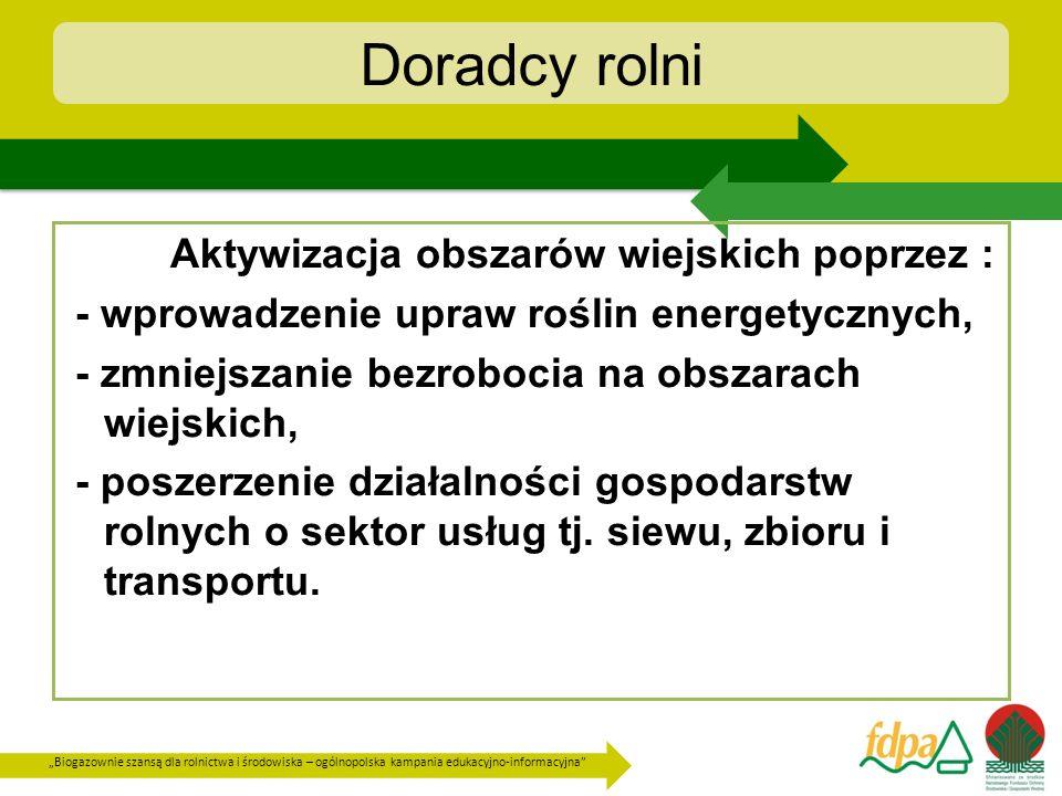 Biogazownie szansą dla rolnictwa i środowiska – ogólnopolska kampania edukacyjno-informacyjna Doradcy rolni Aktywizacja obszarów wiejskich poprzez : -