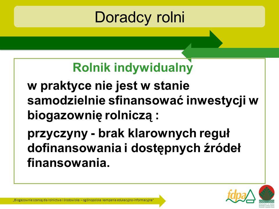 Biogazownie szansą dla rolnictwa i środowiska – ogólnopolska kampania edukacyjno-informacyjna Doradcy rolni Rolnik indywidualny w praktyce nie jest w