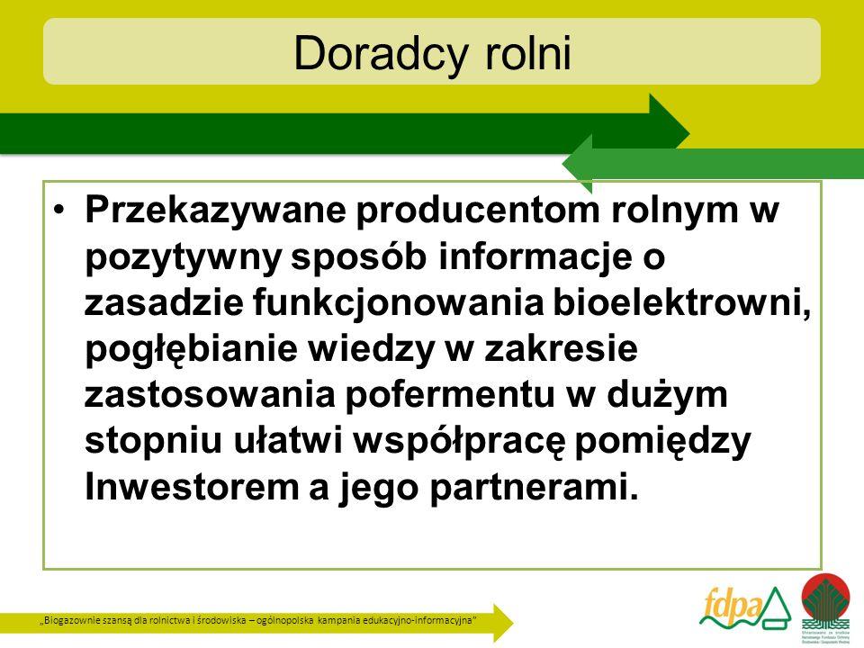 Biogazownie szansą dla rolnictwa i środowiska – ogólnopolska kampania edukacyjno-informacyjna Doradcy rolni Przekazywane producentom rolnym w pozytywn