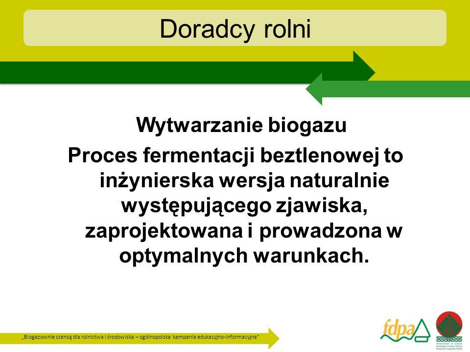 Biogazownie szansą dla rolnictwa i środowiska – ogólnopolska kampania edukacyjno-informacyjna Doradcy rolni Korzyści wynikające z produkcji biogazu w procesie fermentacji beztlenowej : - energia, - redukcja emisji, - sprawy związane z ochroną środowiska (redukcja BZT5, ChZT, stabilizacja pH, związanie metali ciężkich) - wartościowe produkty uboczne.