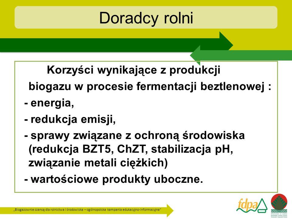 Biogazownie szansą dla rolnictwa i środowiska – ogólnopolska kampania edukacyjno-informacyjna Doradcy rolni Korzyści wynikające z produkcji biogazu w