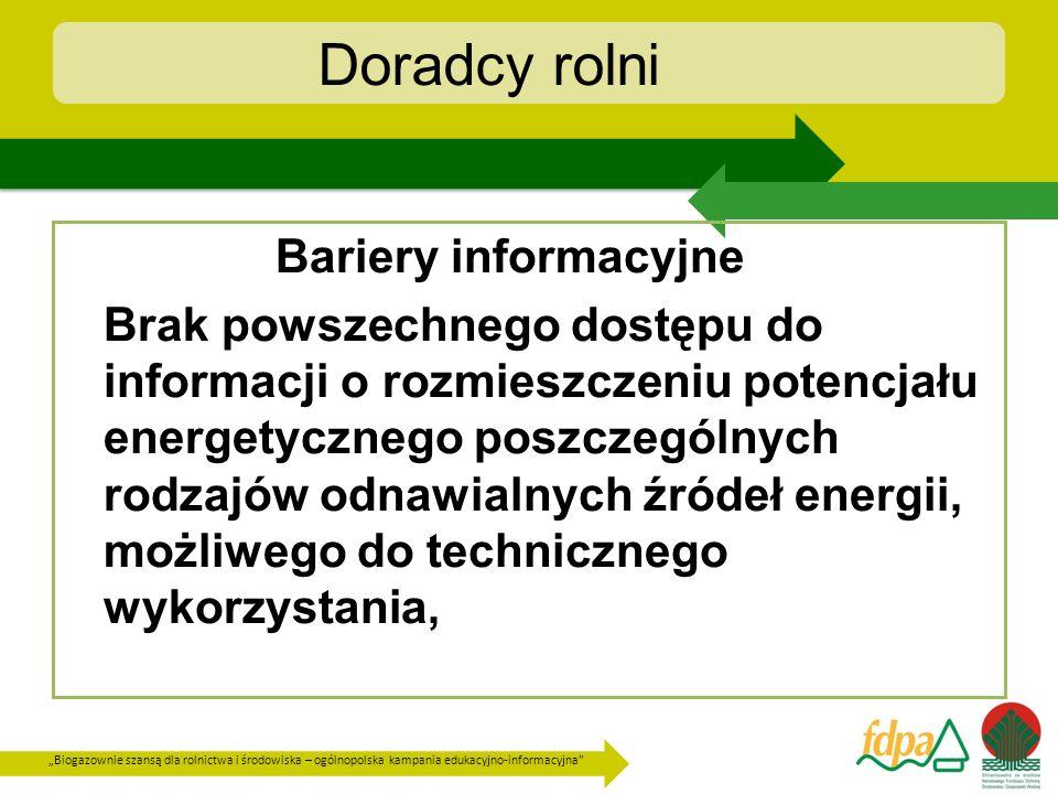 Biogazownie szansą dla rolnictwa i środowiska – ogólnopolska kampania edukacyjno-informacyjna Doradcy rolni Brak powszechnie dostępnych informacji o procedurach postępowania przy otwieraniu i realizacji tego rodzaju inwestycji, Brak informacji o korzyściach ekonomicznych, społecznych i ekologicznych związanych z realizacją inwestycji z wykorzystaniem OZE,