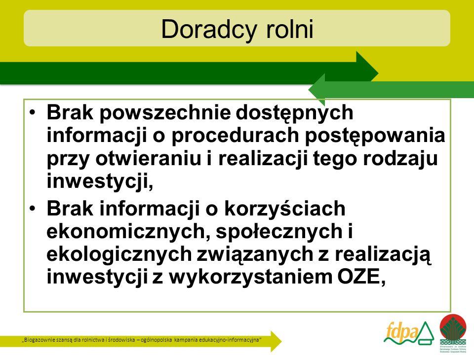 Biogazownie szansą dla rolnictwa i środowiska – ogólnopolska kampania edukacyjno-informacyjna Doradcy rolni Brak powszechnie dostępnych informacji o p