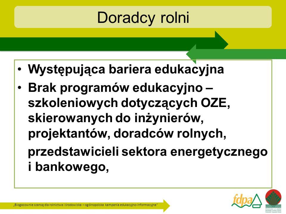 Biogazownie szansą dla rolnictwa i środowiska – ogólnopolska kampania edukacyjno-informacyjna Doradcy rolni Występująca bariera edukacyjna Brak progra