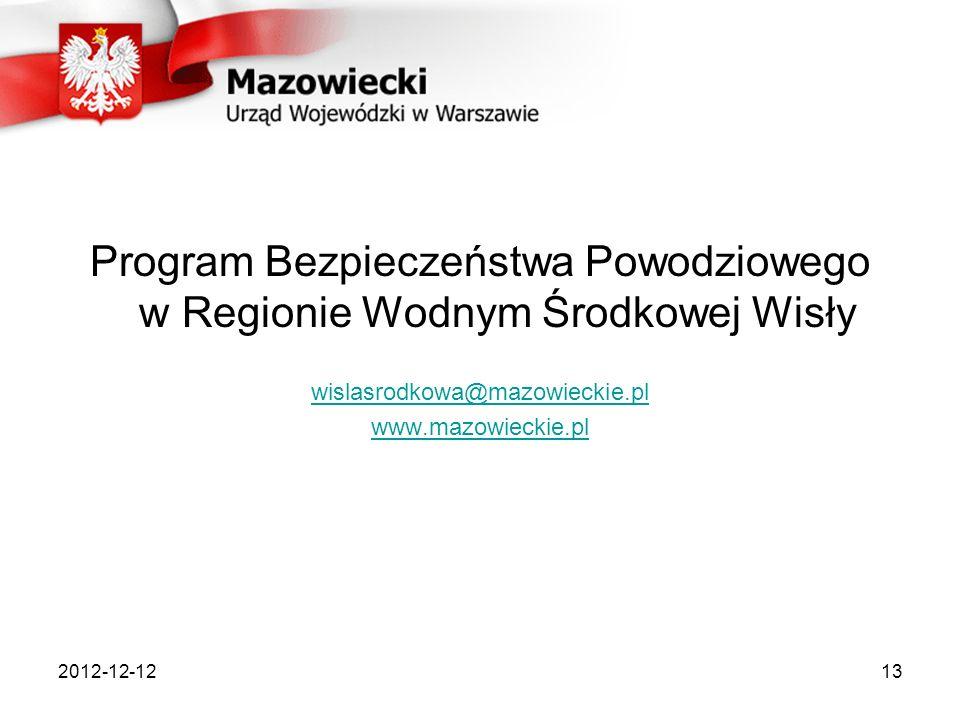 2012-12-1213 Program Bezpieczeństwa Powodziowego w Regionie Wodnym Środkowej Wisły wislasrodkowa@mazowieckie.pl www.mazowieckie.pl