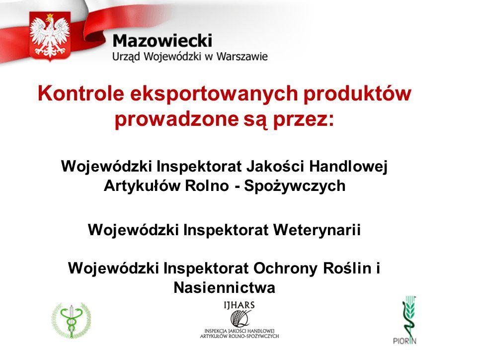 Kontrole eksportowanych produktów prowadzone są przez: Wojewódzki Inspektorat Jakości Handlowej Artykułów Rolno - Spożywczych Wojewódzki Inspektorat W