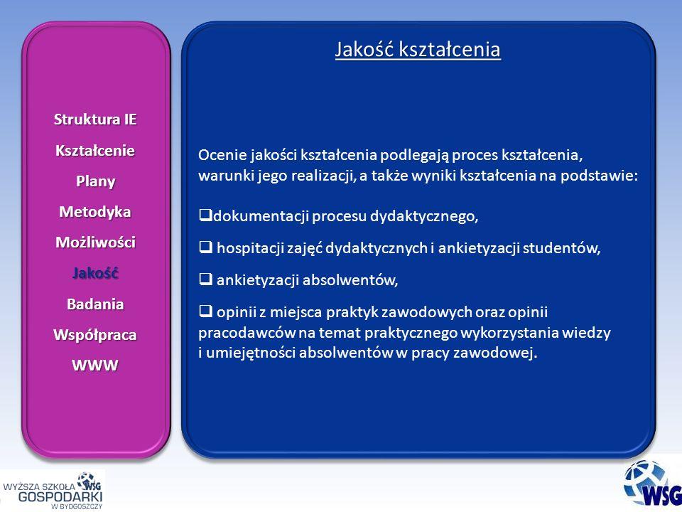 Struktura IE KształceniePlanyMetodykaMożliwościJakośćBadaniaWspółpracaWWW KształceniePlanyMetodykaMożliwościJakośćBadaniaWspółpracaWWW Jakość kształcenia Ocenie jakości kształcenia podlegają proces kształcenia, warunki jego realizacji, a także wyniki kształcenia na podstawie: dokumentacji procesu dydaktycznego, hospitacji zajęć dydaktycznych i ankietyzacji studentów, ankietyzacji absolwentów, opinii z miejsca praktyk zawodowych oraz opinii pracodawców na temat praktycznego wykorzystania wiedzy i umiejętności absolwentów w pracy zawodowej.