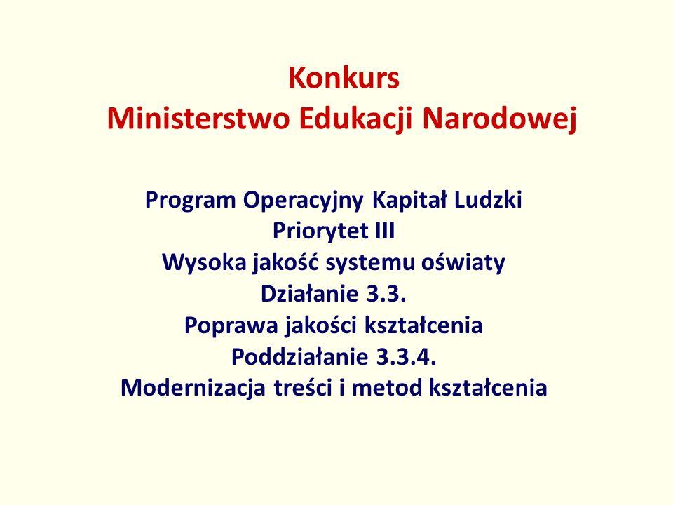 Konkurs Ministerstwo Edukacji Narodowej Program Operacyjny Kapitał Ludzki Priorytet III Wysoka jakość systemu oświaty Działanie 3.3. Poprawa jakości k