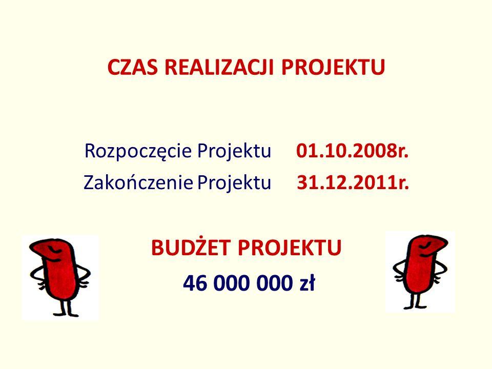 CZAS REALIZACJI PROJEKTU Rozpoczęcie Projektu 01.10.2008r. Zakończenie Projektu 31.12.2011r. BUDŻET PROJEKTU 46 000 000 zł