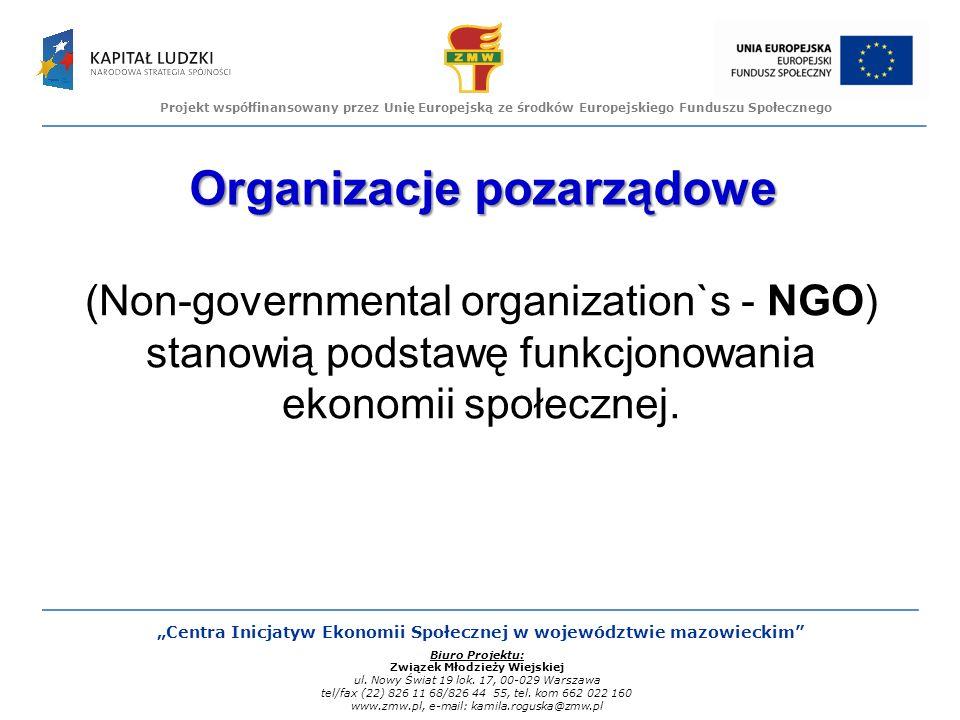 Projekt współfinansowany przez Unię Europejską ze środków Europejskiego Funduszu Społecznego Centra Inicjatyw Ekonomii Społecznej w województwie mazowieckim Biuro Projektu: Związek Młodzieży Wiejskiej ul.