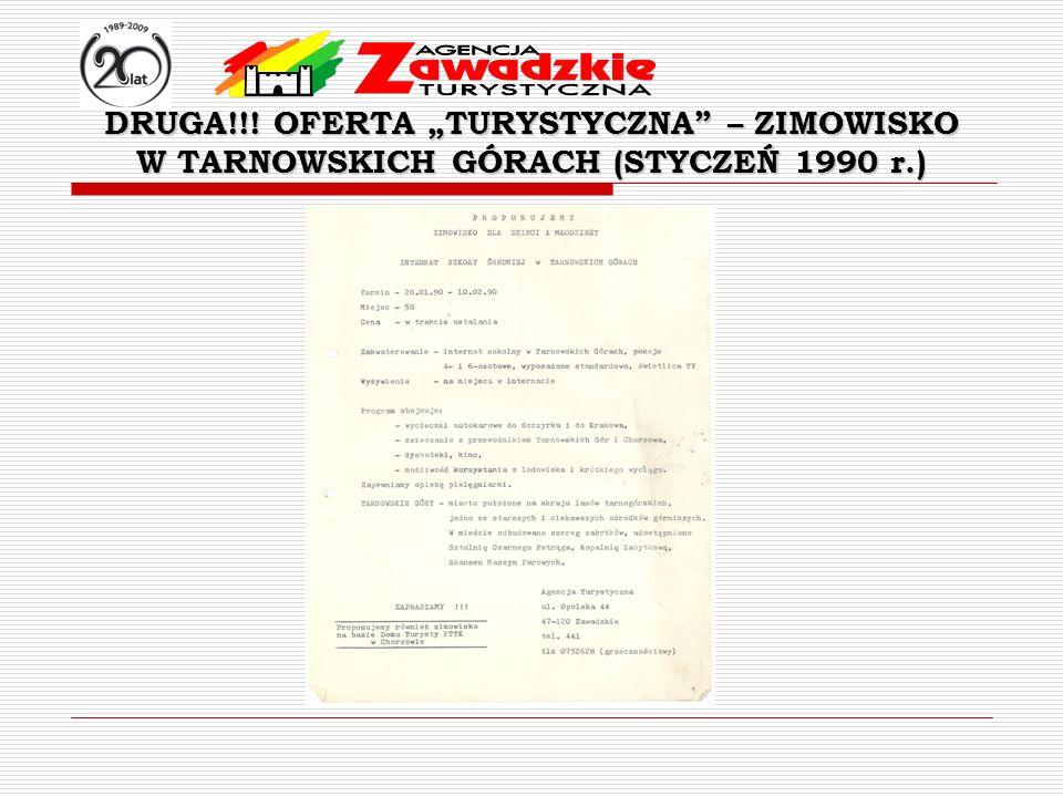 DRUGA!!! OFERTA TURYSTYCZNA – ZIMOWISKO W TARNOWSKICH GÓRACH (STYCZEŃ 1990 r.)