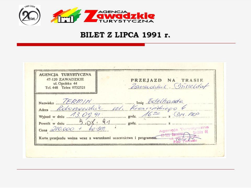 BILET Z LIPCA 1991 r.