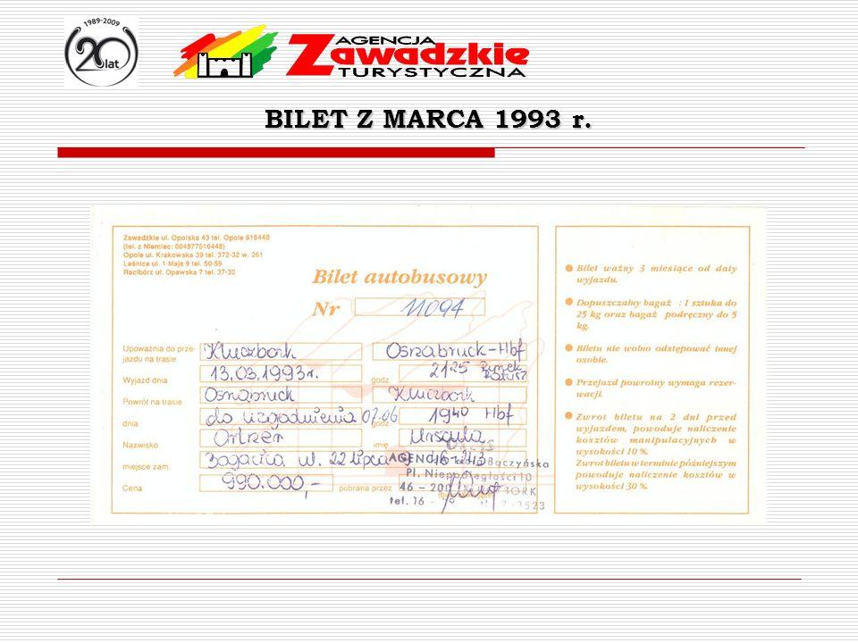 BILET Z MARCA 1993 r.