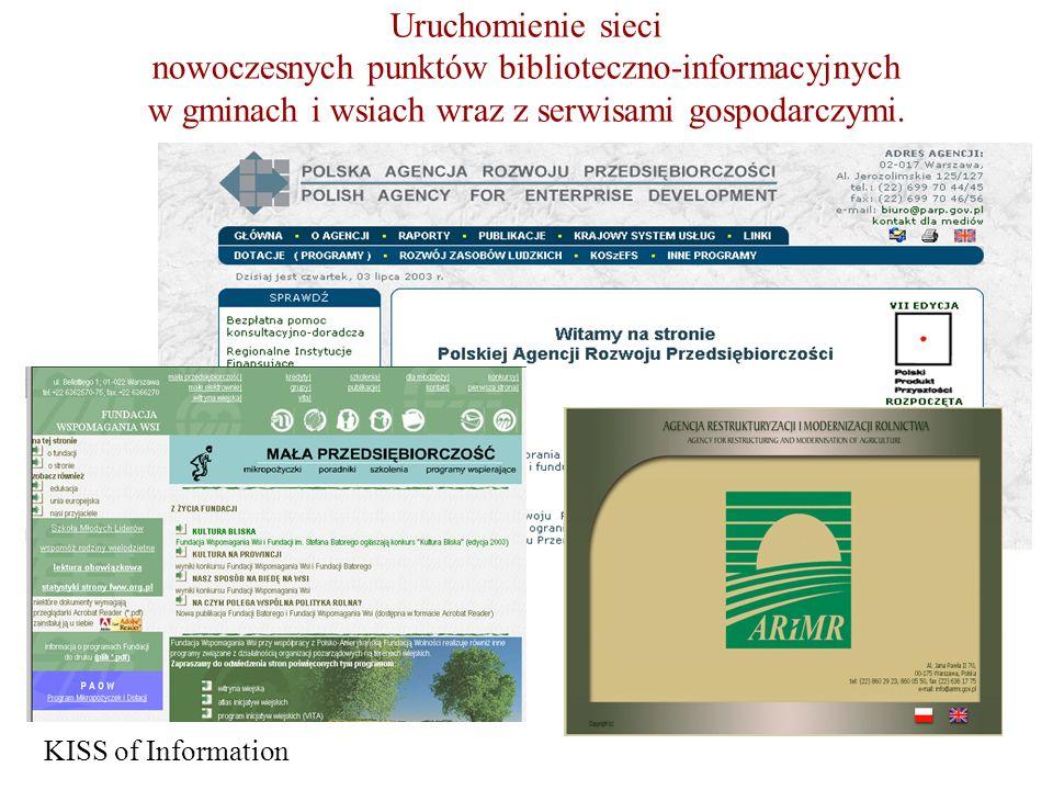Uruchomienie sieci nowoczesnych punktów biblioteczno-informacyjnych w gminach i wsiach wraz z serwisami gospodarczymi.