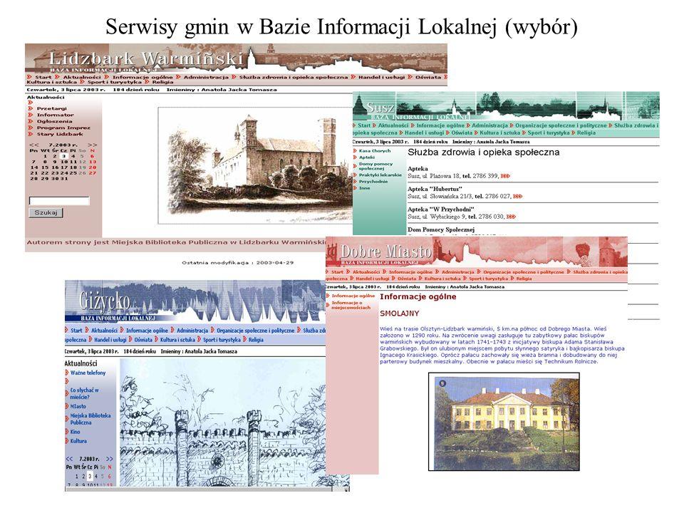 Serwisy gmin w Bazie Informacji Lokalnej (wybór)