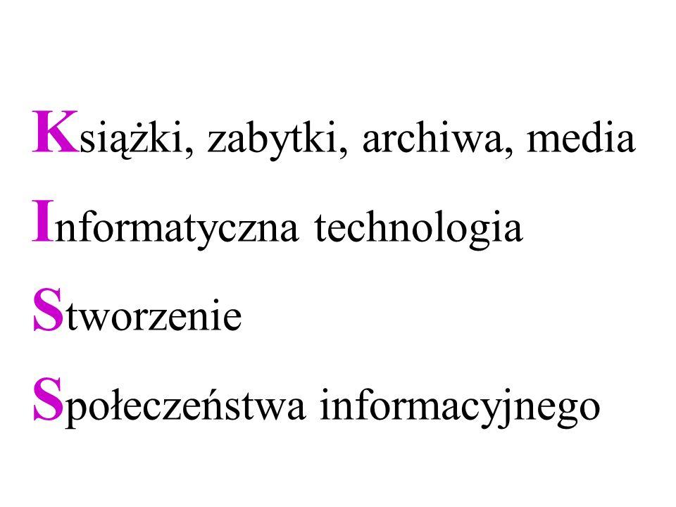 K siążki, zabytki, archiwa, media I nformatyczna technologia S tworzenie S połeczeństwa informacyjnego
