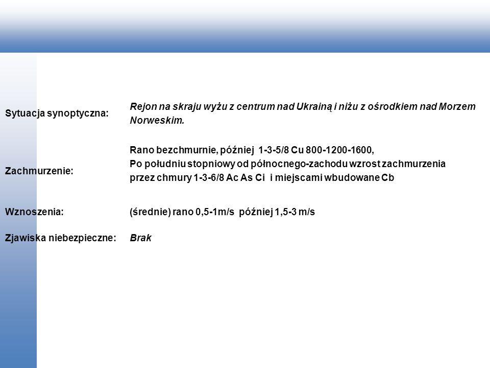 Sytuacja synoptyczna: Rejon na skraju wyżu z centrum nad Ukrainą i niżu z ośrodkiem nad Morzem Norweskim. Zachmurzenie: Rano bezchmurnie, później 1-3-