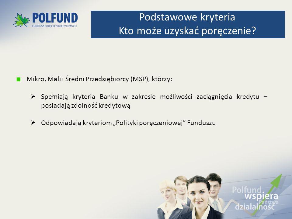 Poręczenie na START – instrument finansowy, który zabezpiecza kredyty udzielone Przedsiębiorcom MSP rozpoczynającym działalność gospodarczą lub będących we wczesnej fazie rozwoju, działających nie dłużej niż 3 lata Poręczenie Biznes Ekspres – zabezpiecza udzielone Przedsiębiorcom MSP kredyty finansujące kapitał obrotowy lub kapitał obrotowy i inwestycje (kredyty o mieszanej strukturze) Poręczenie Micro Invest 2 – poręczenie zabezpiecza kredyty inwestycyjne Nowe produkty poręczeniowe – Program CIP