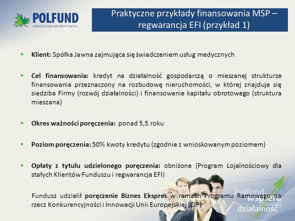 Klient: Spółka Jawna zajmująca się świadczeniem usług medycznych Cel finansowania: kredyt na działalność gospodarczą o mieszanej strukturze finansowan