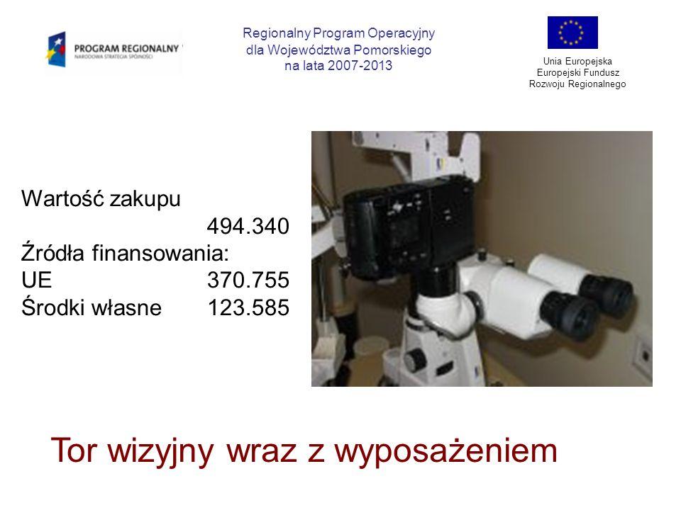 Regionalny Program Operacyjny dla Województwa Pomorskiego na lata 2007-2013 Unia Europejska Europejski Fundusz Rozwoju Regionalnego Tor wizyjny wraz z