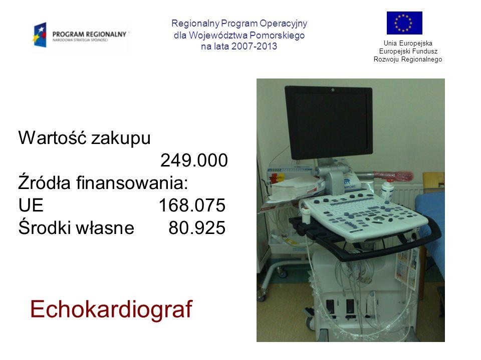 Regionalny Program Operacyjny dla Województwa Pomorskiego na lata 2007-2013 Unia Europejska Europejski Fundusz Rozwoju Regionalnego Echokardiograf War
