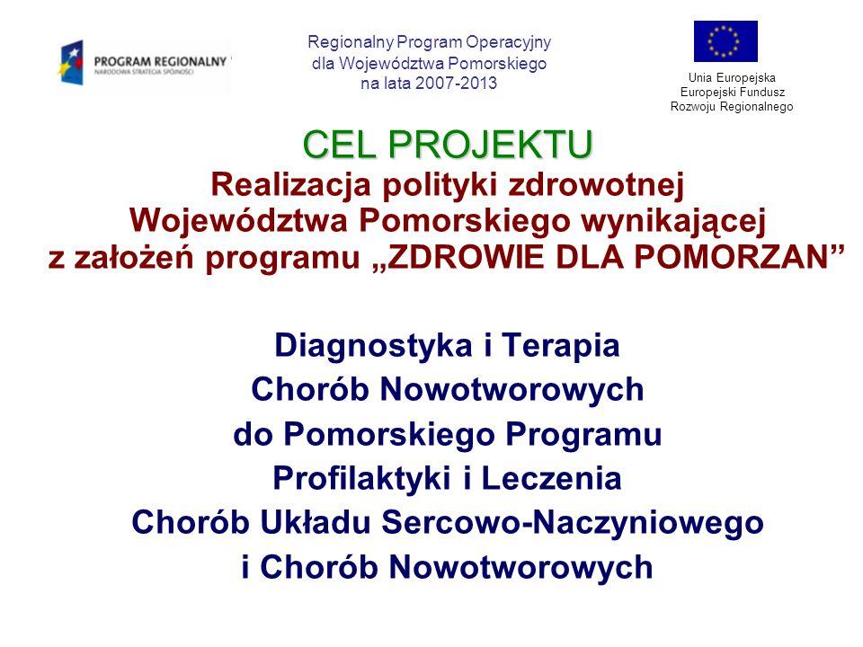 CEL PROJEKTU Realizacja polityki zdrowotnej Województwa Pomorskiego wynikającej z założeń programu ZDROWIE DLA POMORZAN Diagnostyka i Terapia Kardiologiczna do Pomorskiego Programu Profilaktyki i Leczenia Chorób Układu Sercowo-Naczyniowego i Chorób Nowotworowych Regionalny Program Operacyjny dla Województwa Pomorskiego na lata 2007-2013 Unia Europejska Europejski Fundusz Rozwoju Regionalnego