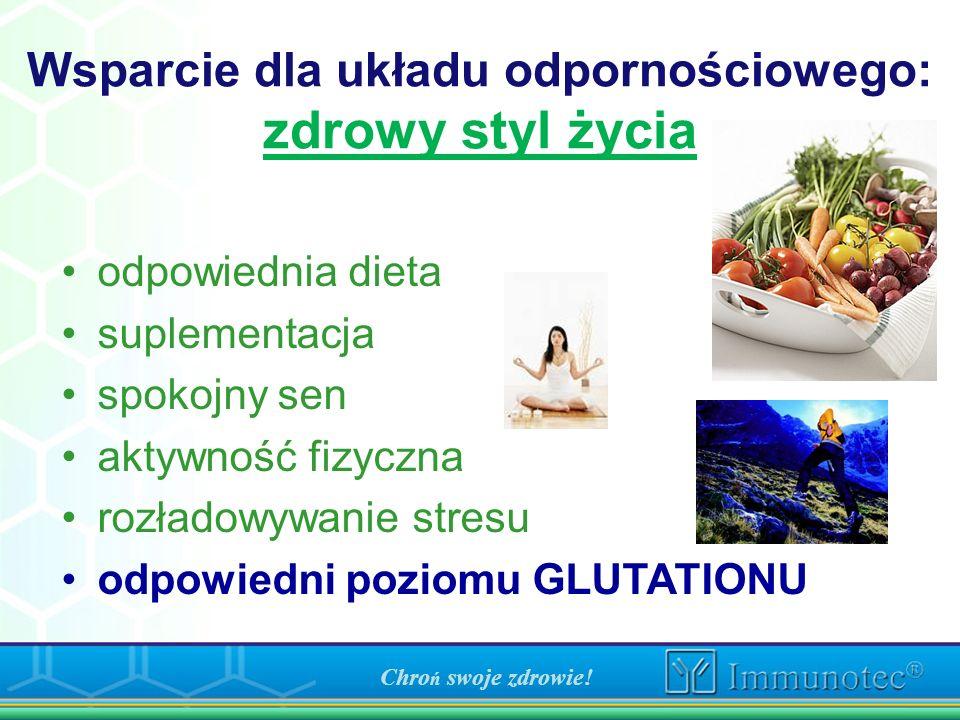 Chro ń swoje zdrowie! Wsparcie dla układu odpornościowego: zdrowy styl życia odpowiednia dieta suplementacja spokojny sen aktywność fizyczna rozładowy