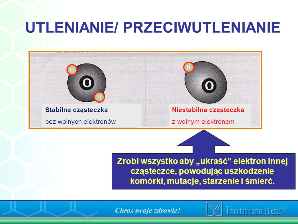 UTLENIANIE/ PRZECIWUTLENIANIE Will do anything to steal electron from other molecules causing cellular damage, mutation, aging, and death. Molécule in
