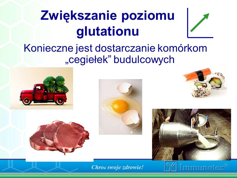 Zwiększanie poziomu glutationu Konieczne jest dostarczanie komórkom cegiełek budulcowych Chro ń swoje zdrowie!