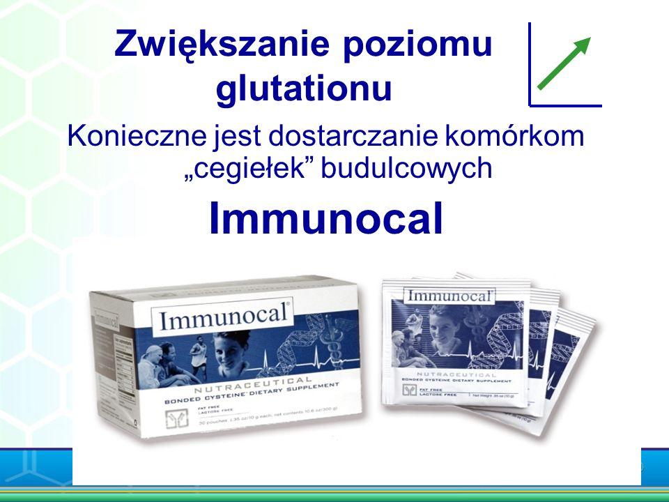Zwiększanie poziomu glutationu Konieczne jest dostarczanie komórkom cegiełek budulcowych Immunocal Chro ń swoje zdrowie!