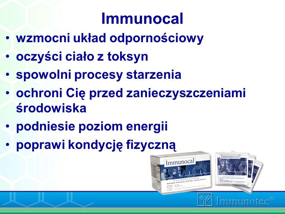 Immunocal wzmocni układ odpornościowy oczyści ciało z toksyn spowolni procesy starzenia ochroni Cię przed zanieczyszczeniami środowiska podniesie pozi