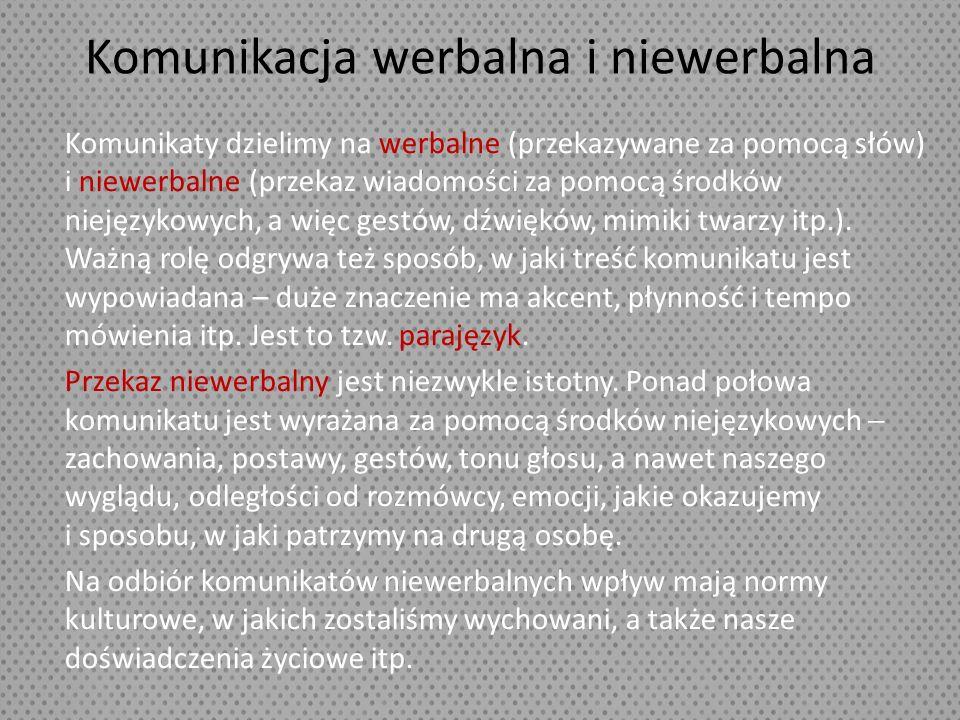 Komunikacja werbalna i niewerbalna Komunikaty dzielimy na werbalne (przekazywane za pomocą słów) i niewerbalne (przekaz wiadomości za pomocą środków n