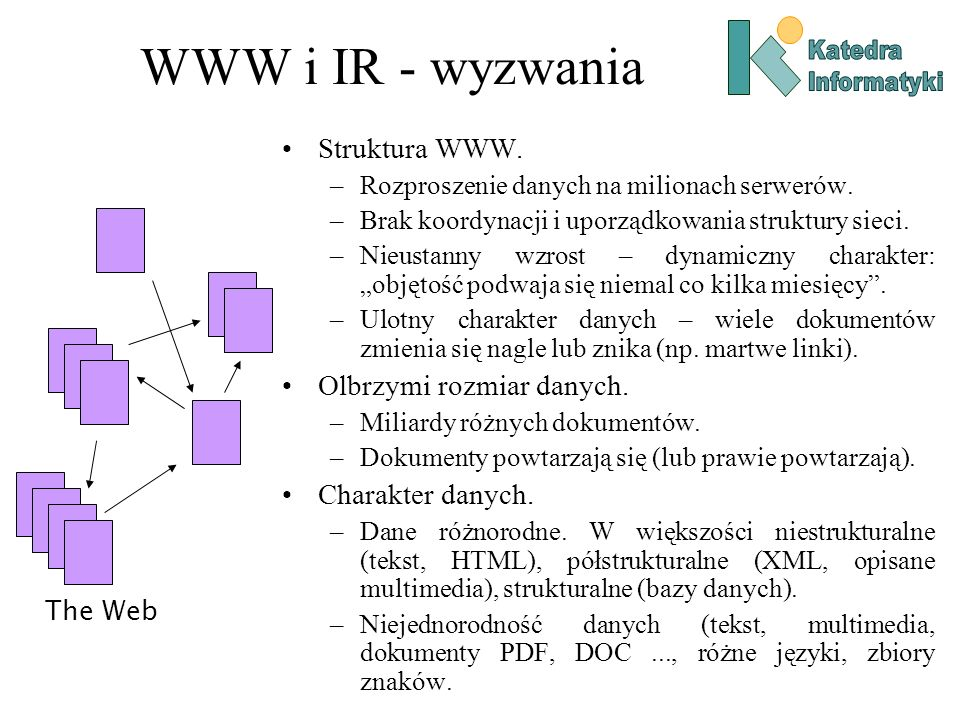 WWW i IR - wyzwania Struktura WWW. –Rozproszenie danych na milionach serwerów. –Brak koordynacji i uporządkowania struktury sieci. –Nieustanny wzrost