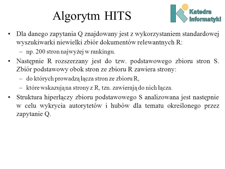 Algorytm HITS Dla danego zapytania Q znajdowany jest z wykorzystaniem standardowej wyszukiwarki niewielki zbiór dokumentów relewantnych R: –np. 200 st