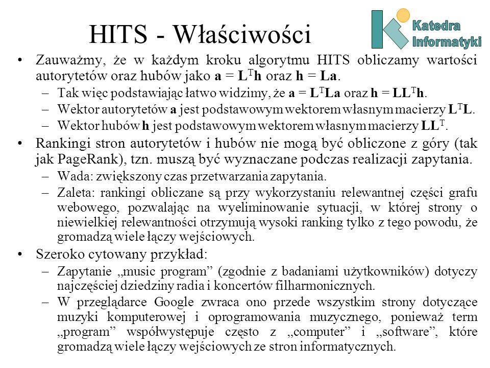 HITS - Właściwości Zauważmy, że w każdym kroku algorytmu HITS obliczamy wartości autorytetów oraz hubów jako a = L T h oraz h = La. –Tak więc podstawi