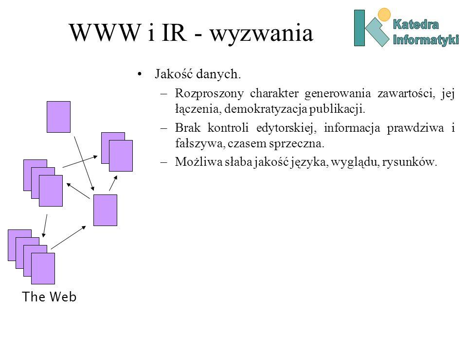 WWW i IR - wyzwania Jakość danych. –Rozproszony charakter generowania zawartości, jej łączenia, demokratyzacja publikacji. –Brak kontroli edytorskiej,