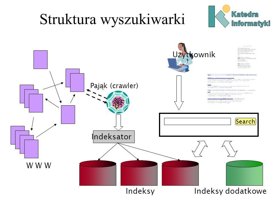 PageRank i HITS PageRank określa wyłącznie autorytet stron, na podstawie ich łączy wejściowych.