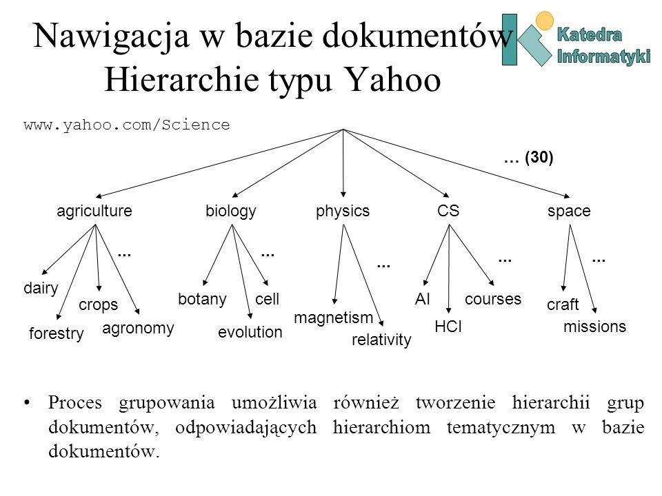 Grupowanie dokumentów Metoda całkowitego połączenia Wykorzystuje maksymalne podobieństwo par: Tworzy bardziej skupione, sferyczne grupy (skupienia), co zazwyczaj jest bardziej preferowane..