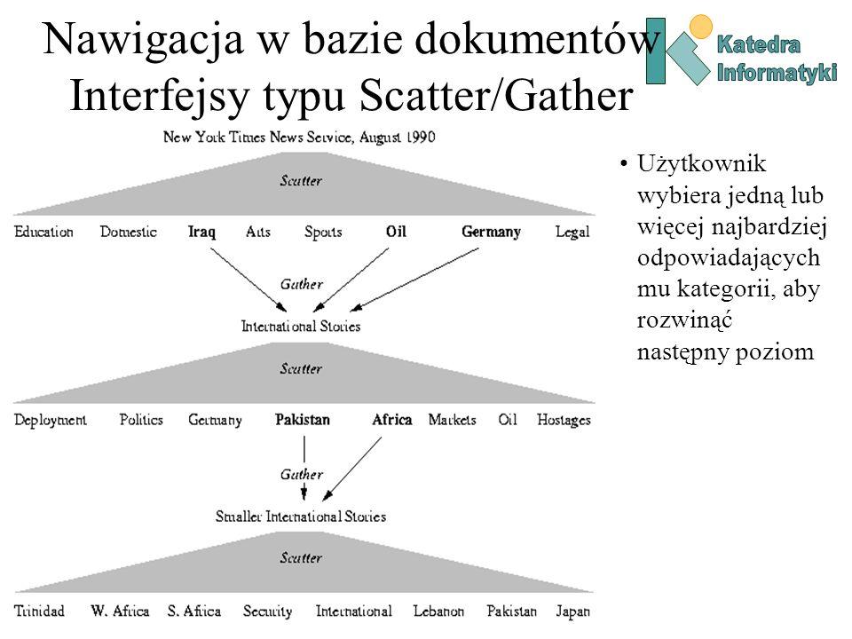 Nawigacja w bazie dokumentów Wizualizacja bazy dokumentów Algorytmy grupowania wykorzystywane są do tworzenia map tematycznych baz dokumentów – wizualizacji polegającej na odwzorowaniu znalezionych kategorii tematycznych na płaszczyznę, tak aby podobne kategorie tematycznie znajdowały się blisko siebie.