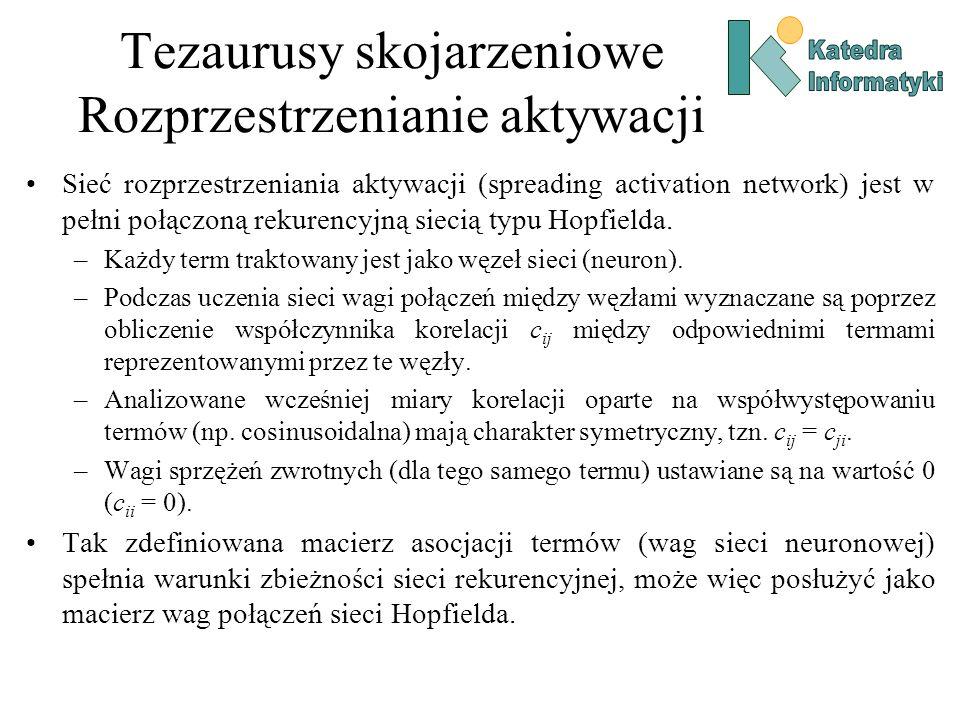 Tezaurusy skojarzeniowe Rozprzestrzenianie aktywacji Sieć rozprzestrzeniania aktywacji (spreading activation network) jest w pełni połączoną rekurency