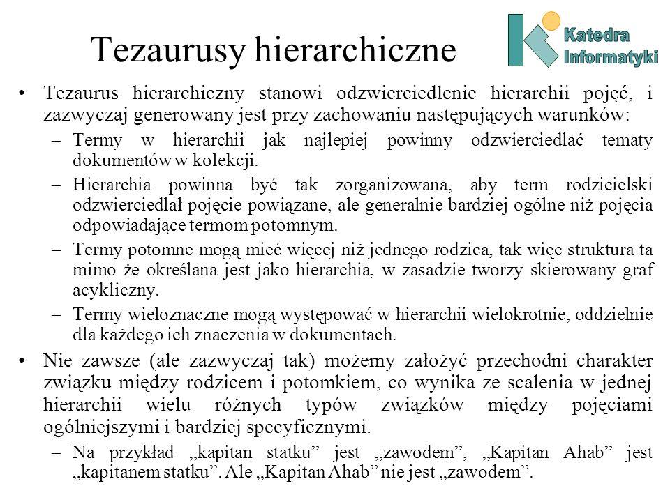 Tezaurusy hierarchiczne Tezaurus hierarchiczny stanowi odzwierciedlenie hierarchii pojęć, i zazwyczaj generowany jest przy zachowaniu następujących wa