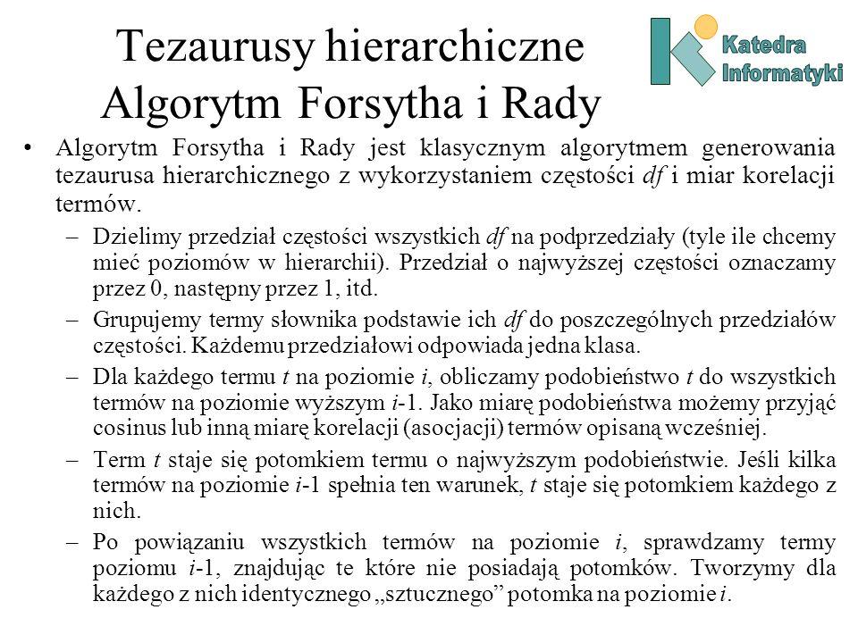 Tezaurusy hierarchiczne Algorytm Forsytha i Rady Algorytm Forsytha i Rady jest klasycznym algorytmem generowania tezaurusa hierarchicznego z wykorzyst