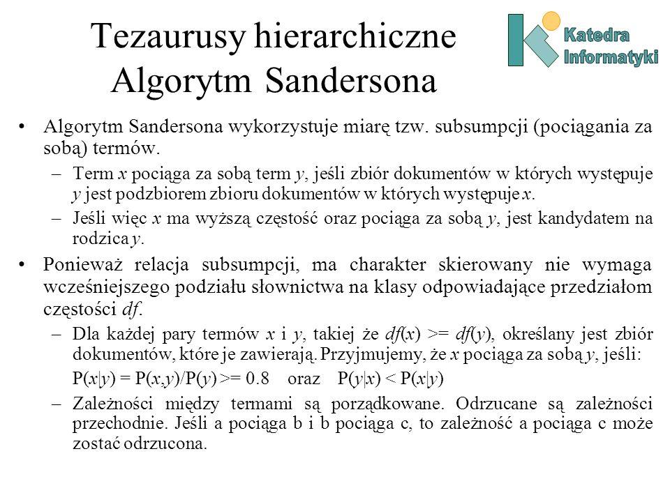 Tezaurusy hierarchiczne Algorytm Sandersona Algorytm Sandersona wykorzystuje miarę tzw. subsumpcji (pociągania za sobą) termów. –Term x pociąga za sob
