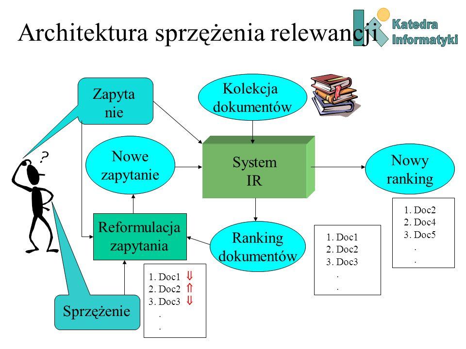 Reformulacja zapytania Automatyczna modyfikacja zapytania: –Ekspansja zapytania: Dodawanie nowych termów wybranych z dokumentów wskazanych jako relewantne.