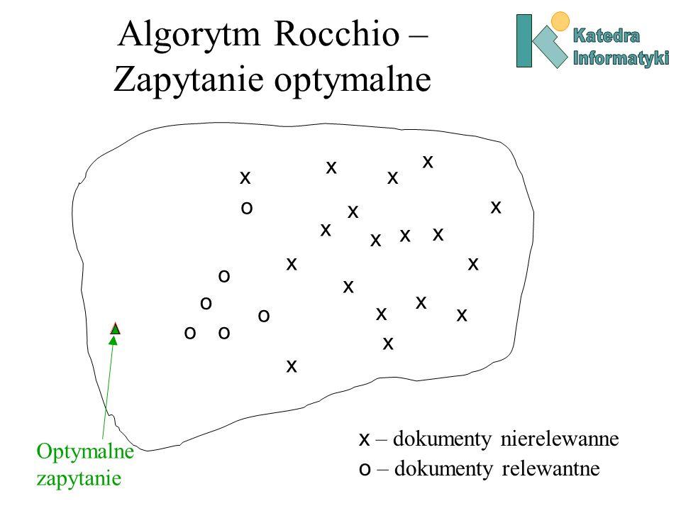 Algorytm Rocchio Ponieważ nie znamy wszystkich dokumentów, po prostu wykorzystujemy zbiór wektorów znanych dokumentów relewantnych (D r ) i nierelewantnych (D nr ) do modyfikacji wstępnego zapytania q 0.